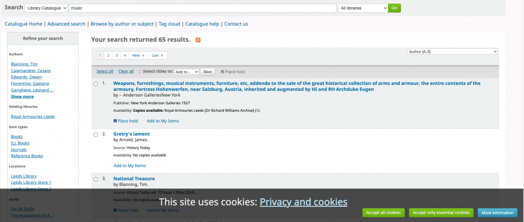 Screen grab showing cookie consent bar
